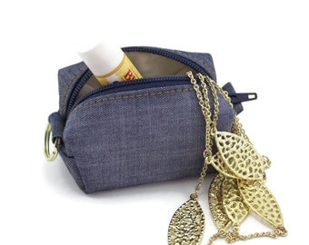 Small change purse – blue denim – coin purse – Pretty Little Pouch