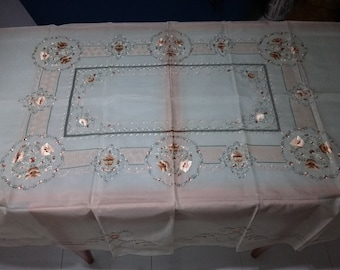 Vintage silk embriodery tablecloth 72 inch x 90 inch