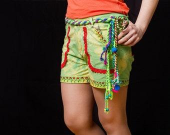 Shorts women. Light green shorts/Women shorts/Hand painted shorts/African shorts/African style