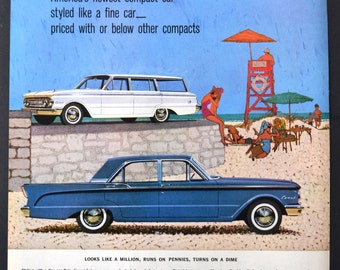 1960 Plymouth Comet Car Vintage Print Ad - Illustrated Ad - At the Beach