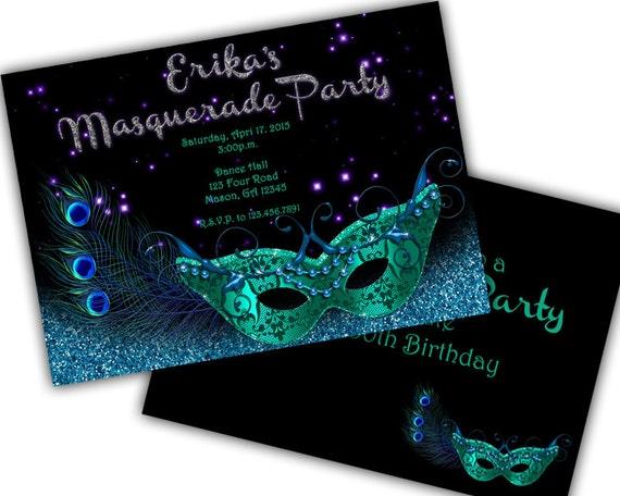 Teal Blue Glitter Masquerade Invitation Mardi Gras Mask – Mask Invitations Masquerade Party
