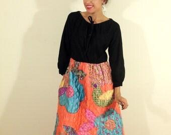 1960s Velvet Quilted Dress