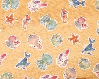 Cute Ocean Animals Flake Sticker sack(48Pcs)