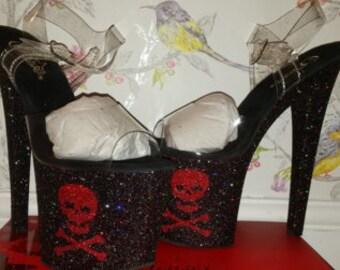 Skull and Crossbones glitter pole heels shoes