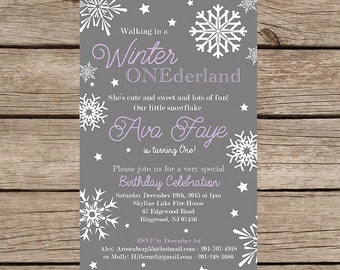 Printable Birthday Invitation, Many color options, Downloadable File, Winter, wonderland, snow, grey,, Any or 1st Birthday, Boy, Girl,