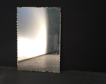 Vintage 1920s Mirror - Frame-Less Frilled Edge Cut Glass Mercury Patina