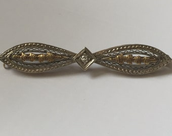 Victorian 14k gold& diamond pin