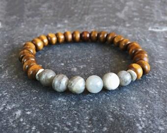 Mens beaded bracelet - gemstone beaded bracelet - mens black beaded bracelet - mens labradorite bracelet - mens yoga bracelet
