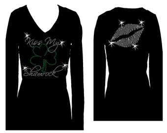 Kiss My Shamrock St Patricks Day V Neck Long Sleeve Womens Bling Glitter Tee Shirt