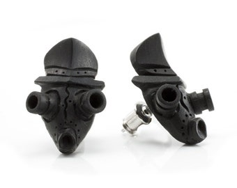 "Hand Carved - ""Gas Mask"" - Ebony Wood Stud Earring - Urban Star Originals"