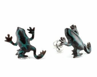 "Hand Carved - ""Poison Dart Frog"" - Horn with Turqoise Inlay Stud Earring - Rainforest"
