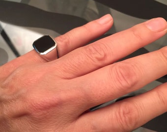 Pinky ring, Signet Ring, Onyx Ring. Silver Signet Ring, Black square Signet Ring, Man Pinky Ring, Woman Pinky Ring, women ring, men ring