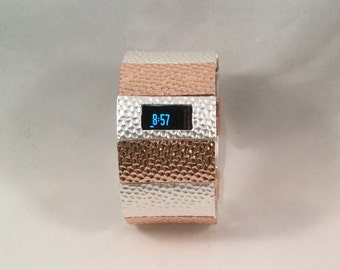 FitBit Charge HR Cover Bracelet and FitBit Charge Band Cover: Hammersmith in Rose Gold and Matte Silver with a Window