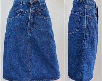 "Vtg blue denim pencil skirt knee length denim skirt size 42eu small 26"" waist"