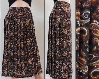 Black brown paisley pleated skirt womans shiny paisley midi knee length skirt size medium