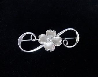 Vintage NYE Sterling Silver Brooch/Pin with Dogwood Flower and Scroll Design