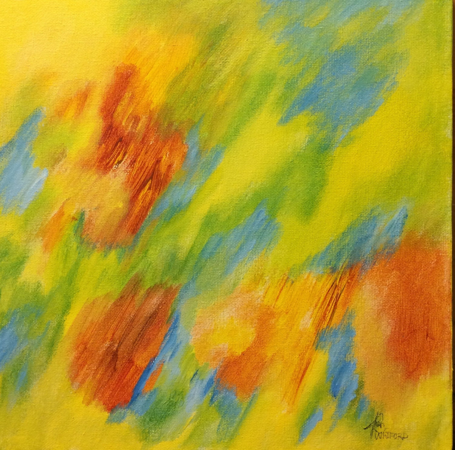 orange yellow lt blue abstract painting abstract art. Black Bedroom Furniture Sets. Home Design Ideas