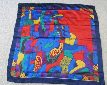 "Genuine Picasso Vintage Print - Large (37""+  Square )- Silky/Polyester- Scarf- Turned Edges-Vibrant Detail-Possible Wall Art-Quality Print"