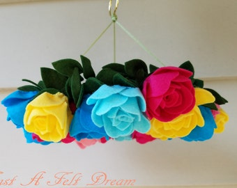 Rose Wreath Baby Mobile, Flower Nursery, Rose Mobile, Baby Girl Mobile *ready to ship*