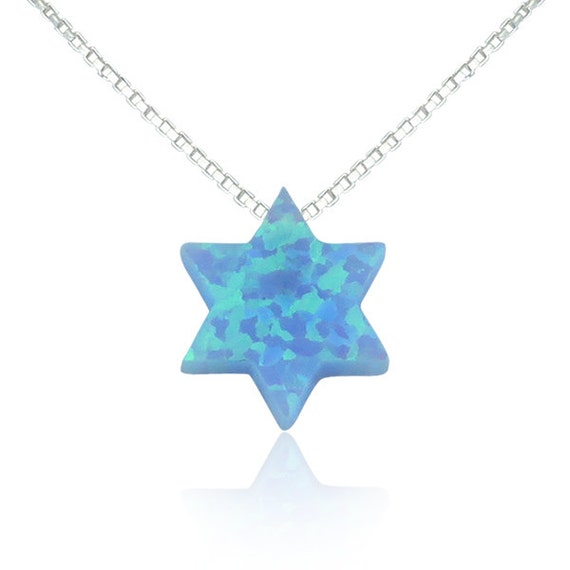 opal star of david necklace in solid sterling silver the perfect Judaica gift, safe to get wet
