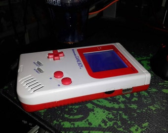 Customized/Modded Gray/Red Game Boy DMG-001 with White Biverted Back-Light