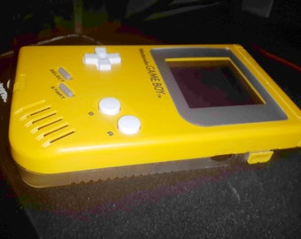 Customized/Modded Yellow/Clear Game Boy DMG-001 with Biverted Yellow Back-Light