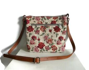 Crossbody bag, festival bag, gobelin bag, small day bag, shoulder bag,every day bag, small travel purse, ereader, passport bag, leather