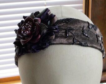 Purple Blooms Elasticized Head Band