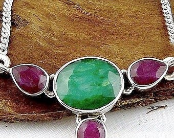 NECKLACE RUBY EMERALD, Ruby pendant, Ruby Indian, natural stone jewelry, sacral chakra LW26.4
