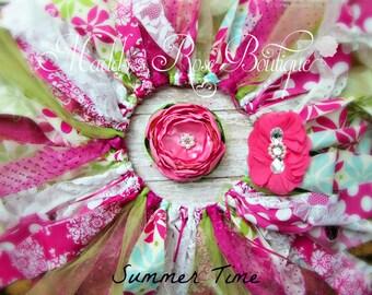 Rag Tutu, Spring Rag Tutu, Handmade Satin Flower, Pink flower headband, Shabby Tutu Set, Pink and Green tutu, shabby tutu, Pink Polka Dots