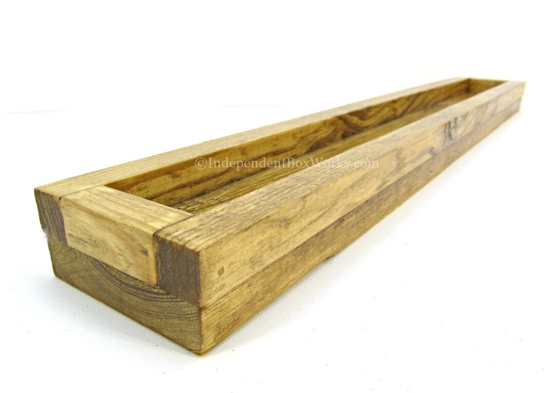 Golden oak stained wood centerpiece box by independentboxworks