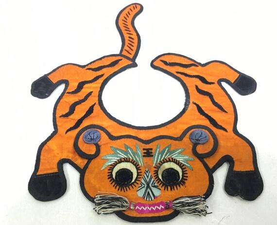 Collar Chinese Silk Baby Orange Tiger Collar Good Luck Handmade Orange Embroidered Spirit Good Luck Protection Baby Unique