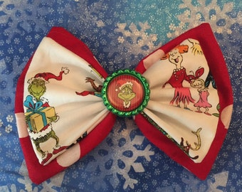 Dr Seuss Grinch Holiday Gathering Whoville Double Stacked Fabric Hair Bow Christmas Holiday Gift Stocking Stuffers Favors Cindy Lou Who