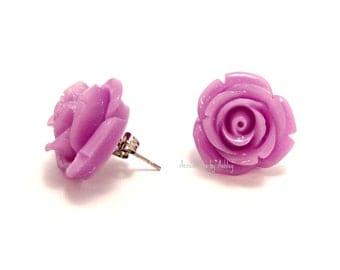 Rose Earrings, Stud Earrings, Lavender Earrings, Flower Earrings, Rose Jewelry, Rose Stud Earrings, Rose Post Earrings, Bridesmaid jewelry