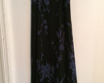 Tessuto Vintage New with tags lined long floral skirt blues size medium - 1990's clothing