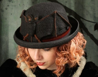Bowler Hat With Bat - Bat Hat - Black Bowler Hat - Bowler Hat