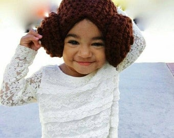 Princess Leia Crocheted hat. Cozy and super cute!