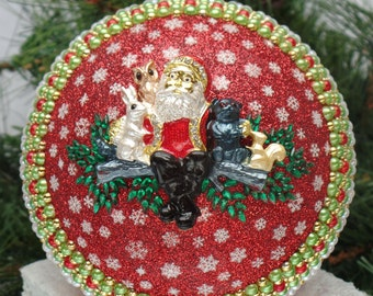 Forest Friends Santa on Red Christmas Ornament
