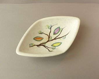 Vintage West germany bowl / serving tray, white with flowers, tree branch, colored leafs, model 577-35, retro, sixties