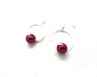 Earrings style Creole red violet Pearl