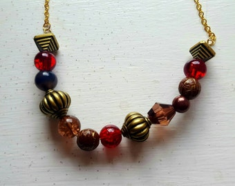 Red and bronze beaded necklace