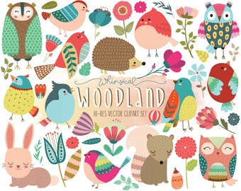 Woodland Clipart - Cute Forest Animal Clip Art - Set of 40 Vector, PNG, & JPG Designs - Summer Clip Art, Floral Clipart