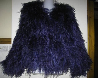 Navy Blue Ostrich and Marabou Mix Feather Jacket - Vintage Chic Glamour
