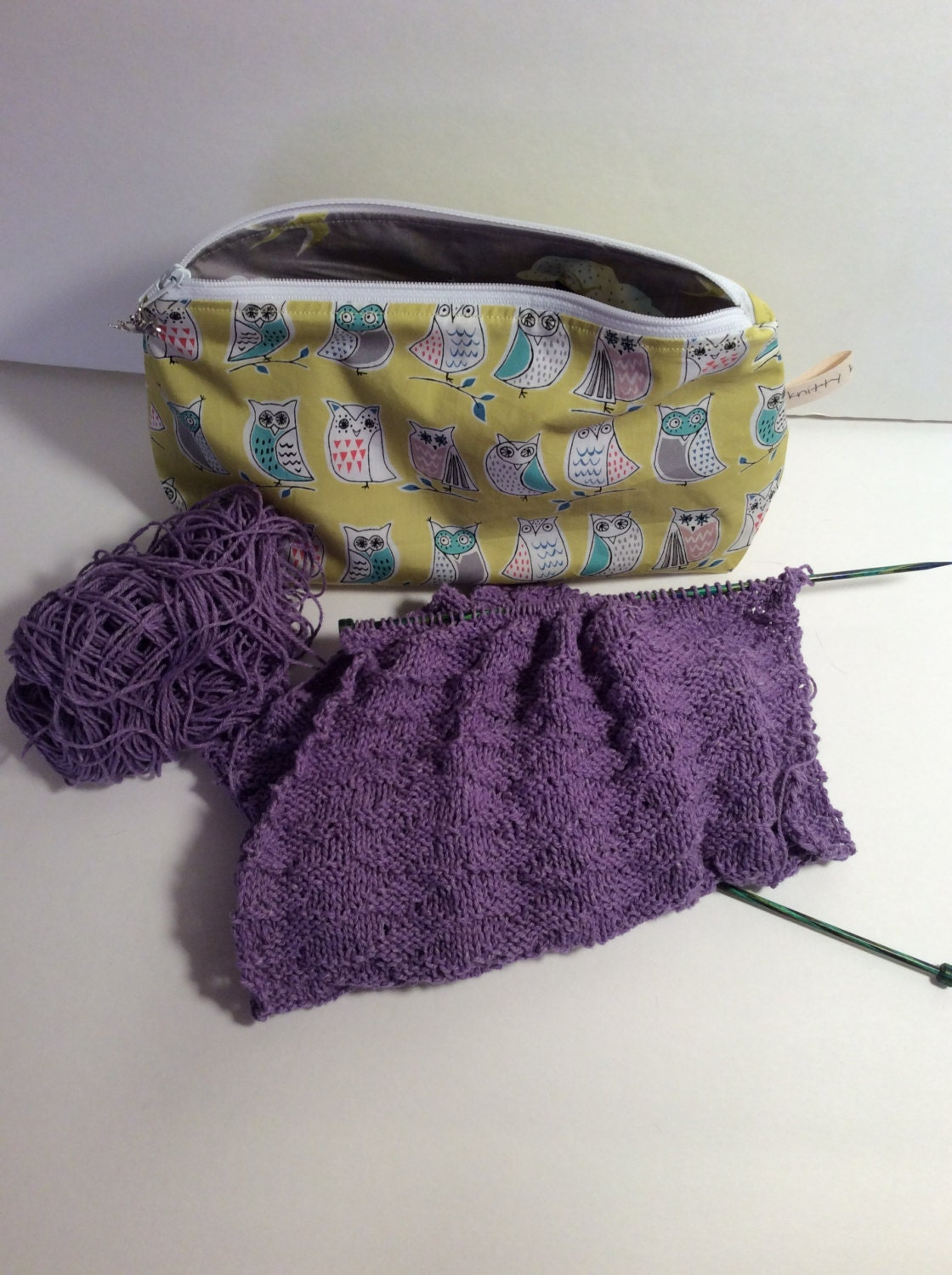 Zippered Knitting Bag : Zippered project bag knitting by