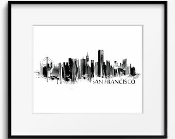 San Francisco Skyline Watercolor Black and White Art Print (706) Cityscape California USA