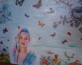 Canvas woman pictures paint collage Mixed media Framed Home Decoration