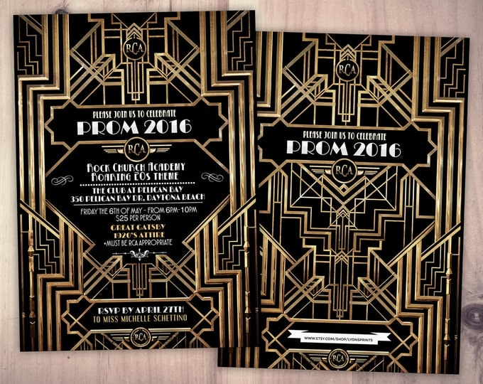 Great Gatsby prom invitation, Roaring 20's, Hollywood film theme party invite. Black and gold glam printable digital invite, glam,