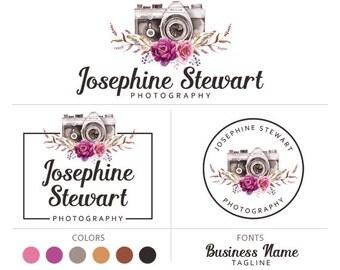 Photography logo branding package boho logo watercolor logo camera logo elegant logo photographer logo marketing kit premade logo package