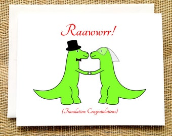 Funny Wedding Card - Trex Wedding - Dinosaur Wedding Card Funny Rawr Congratulations Wedding Card Engagement Card Funny Straight Wedding