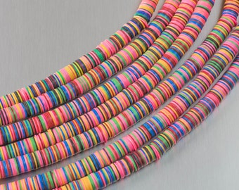 Multi-Color Vinyl , Heishi Shaped 3mm, 4mm, 8mm, Full Strands. 35""
